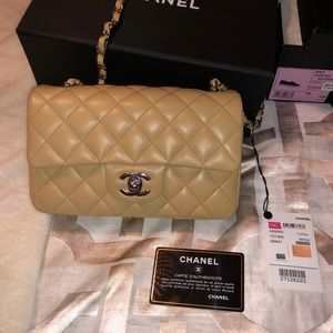 Chanel Mini in Beige Lambskin